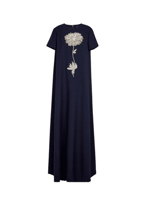 Embellished wool-blend gown