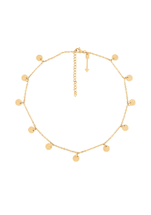 Ellie Vail Sabina Mini Sparkle Disc Necklace in Metallic Gold.