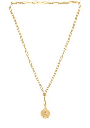 BRACHA Initial Medallion Lariat Necklace in Metallic Gold. Size J, L.