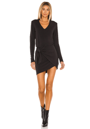 MONROW Supersoft Long Sleeve V Dress in Black. Size XS, M.