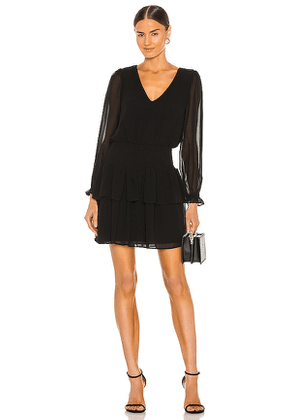 1. STATE V Neck Smocked Dress in Black. Size S.