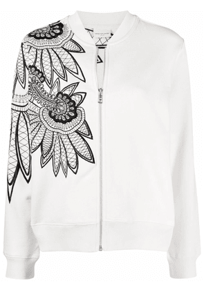 Floral Embroidere Cotton Bomber Jacket