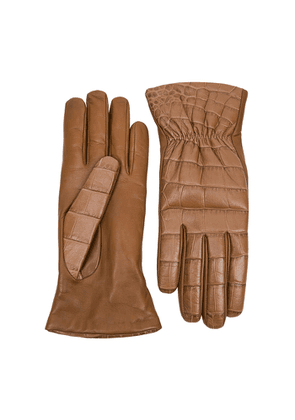 Bottega Veneta Brown Crocodile-effect Leather Gloves