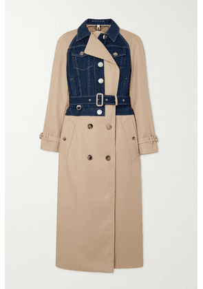 Burberry - Paneled Cotton-gabardine And Denim Trench Coat - Beige