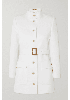 SAINT LAURENT - Belted Wool-blend Jersey Jacket - White