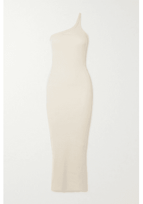 The Line By K - Gael One-shoulder Cutout Ribbed Stretch-cotton Maxi Dress - Off-white