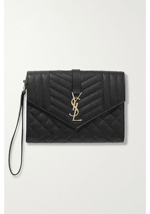 SAINT LAURENT - Envelope Quilted Textured-leather Pouch - Black