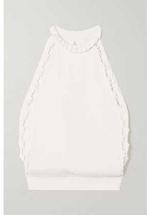 Chloé - Guipure Lace-trimmed Ribbed Silk And Cotton-blend Top - Off-white