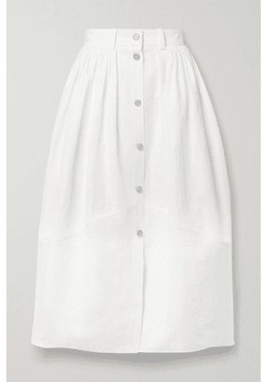 Chloé - Pleated Linen And Cotton-blend Midi Skirt - Ivory