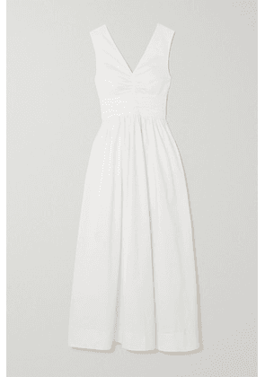 STAUD - Gloria Gathered Stretch-cotton Poplin Maxi Dress - White