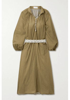 Zimmermann - Cassia Belted Crinkled Cotton-voile Midi Shirt Dress - Army green