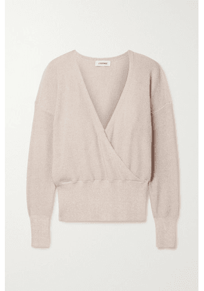 L'Agence - Blair Wrap-effect Metallic Knitted Sweater - Blush