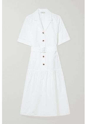 Lafayette 148 - Orion Belted Tiered Cotton-poplin Midi Shirt Dress - White