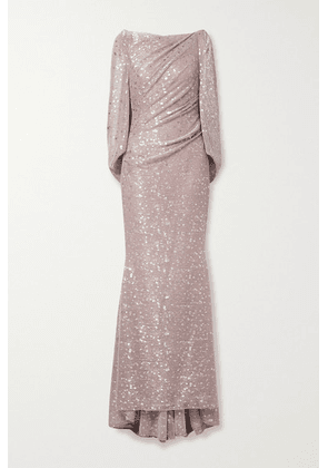 Talbot Runhof - Draped Printed Metallic Voile Gown - Blush