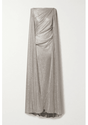 Talbot Runhof - Cape-effect Draped Metallic Voile Gown - Gold
