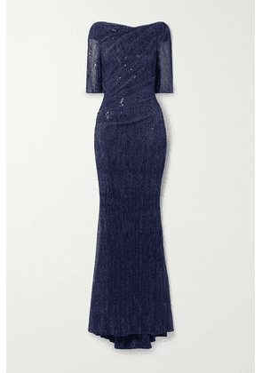Talbot Runhof - Draped Sequin-embellished Metallic Voile Gown - Navy