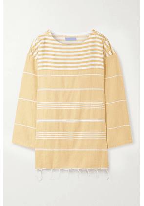 Paradised - + Net Sustain Waverunner Fringed Striped Cotton Tunic - Saffron