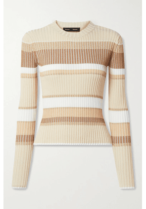 Proenza Schouler - Metallic Striped Ribbed-knit Sweater - Neutral