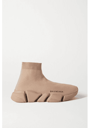 Balenciaga - Speed 2.0 Stretch-knit High-top Sneakers - Beige