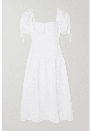 Reformation - Melony Bow-detailed Shirred Linen Midi Dress - White