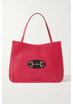 Gucci - 1955 Horsebit Leather-trimmed Faux Straw Tote - Pink