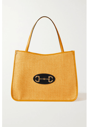 Gucci - 1955 Horsebit Leather-trimmed Faux Straw Tote - Yellow