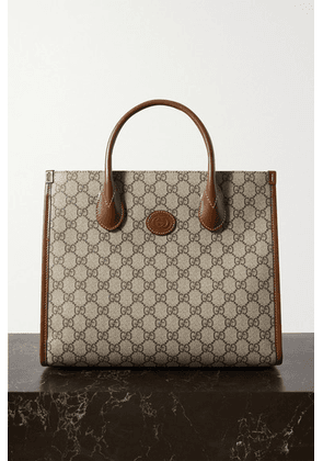 Gucci - Ophidia Luggage Leather-trimmed Printed Coated-canvas Tote - Brown