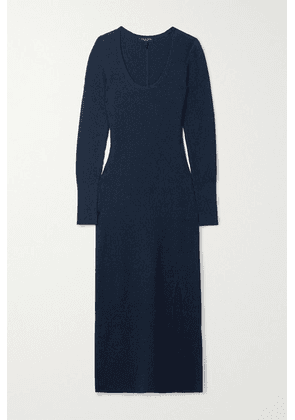 rag & bone - Sunny Ribbed Cotton-blend Midi Dress - Midnight blue