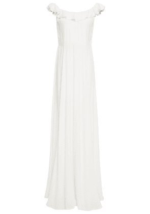 Reformation Ruffled Crepe Gown Woman White Size 8