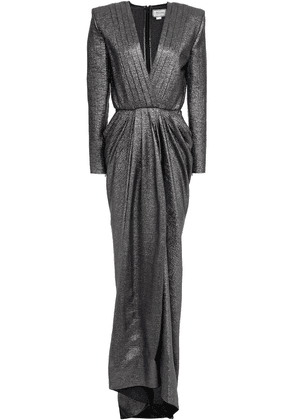 Redemption Pleated Metallic Silk-blend Jacquard Gown Woman Gunmetal Size 42