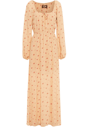 Reformation Augusta Gathered Floral-print Crepe Maxi Dress Woman Sand Size M