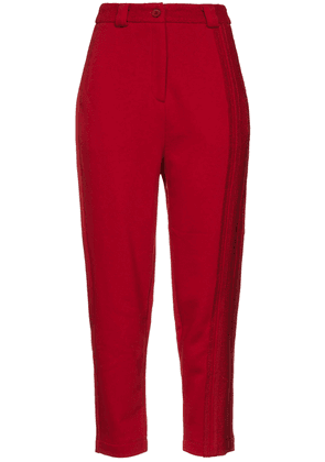Twenty Montréal French Cotton-blend Terry Tapered Pants Woman Red Size S