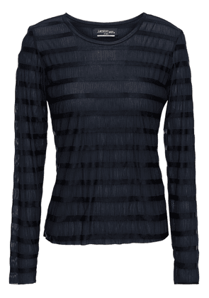 Lanston Sport Striped Crinkled-jersey Top Woman Black Size XS