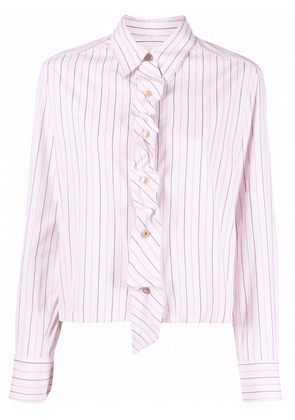 Chanel Pre-Owned 2010 ruffled-detailing striped shirt - Pink