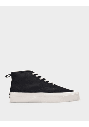Maison Kitsune High-Top Sneakers in Black Canvas