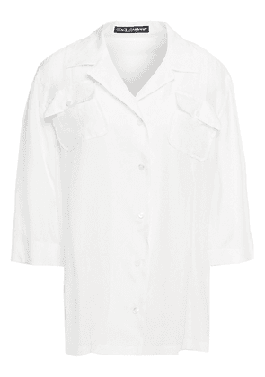 Dolce & Gabbana Silk Crepe De Chine Shirt Woman White Size 40