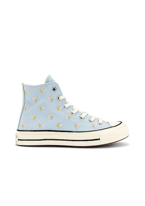 Converse Chuck 70 Embroidered Garden Party Sneaker in Baby Blue. Size 5.5, 6.5, 8.5, 9.5, 10.