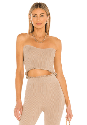 MAJORELLE Cropped Sweetheart Ribbed Tube Top in Taupe. Size XL.