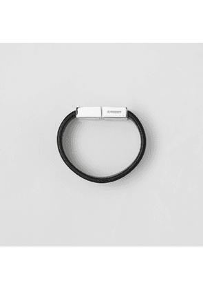 Burberry Leather and Palladium-plated Bracelet