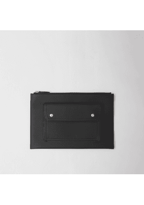Burberry Pocket Detail Grainy Leather Zip Pouch