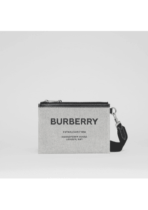Burberry Horseferry Print Canvas Pouch with Detachable Strap