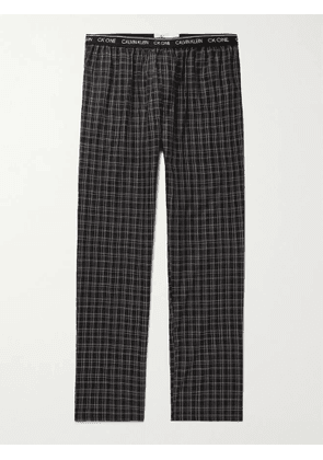 CALVIN KLEIN UNDERWEAR - Checked Cotton Pyjama Trousers - Men - Black - S