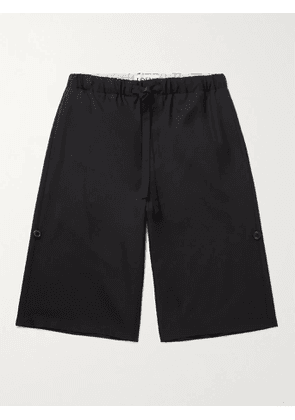 LOEWE - Wide-Leg Wool-Twill Drawstring Shorts - Men - Black - XS