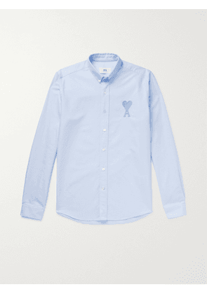 AMI PARIS - Button-Down Collar Logo-Embroidered Cotton Oxford Shirt - Men - Blue - EU 38