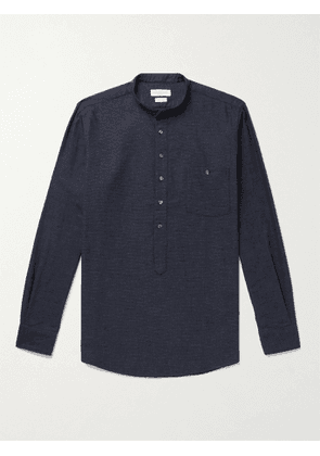 RICHARD JAMES - Slim-Fit Grandad-Collar Birdseye Brushed Cotton-Flannel Half-Placket Shirt - Men - Blue - UK/US 15