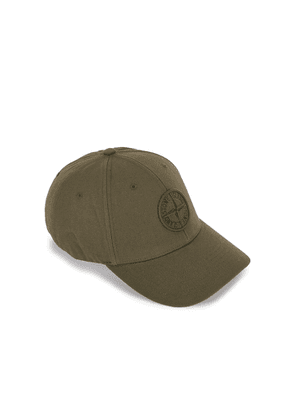 Stone Island Army Green Logo-embroidered Cotton Cap