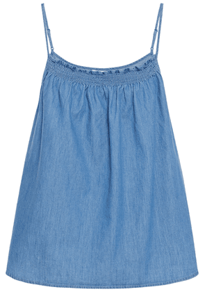 Joie Manisha Shirred Cotton-chambray Camisole Woman Mid denim Size XXS