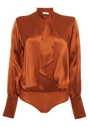 Jonathan Simkhai Paneled Stretch-silk Satin And Mesh Bodysuit Woman Tan Size XS