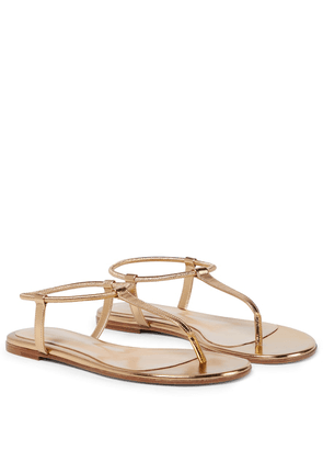 Metallic leather thong sandals