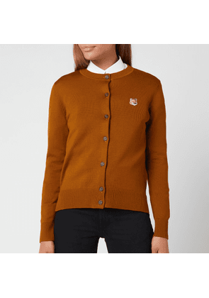 Maison Kitsuné Women's Fox Head Patch Adjusted R-Neck Cardigan - Caramel - XS